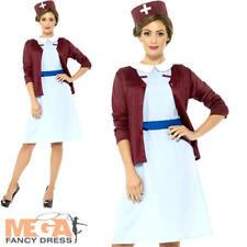 Vintage Nurse Ladies Fancy Dress 1940s 30s Medical Wartime Womens Adults Costume