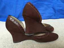 ALDO Chocolate Brown Suede Leather Wedge Womens Ladies Shoes size EU 36.5 UK 3.5