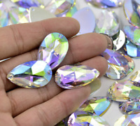 Large AB Flat Back Teardrop Acrylic Rhinestone Gem Crystal Clear 28mm Iridescent