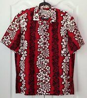 ROYAL HAWAIIAN CREATIONS Floral Aloha Shirt XL RED BLACK White HIBISCUS Flowers