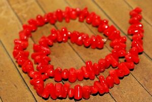 New, long 15 inch strand of Gemstone chip beads - Red Coral -  A4069c