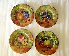 Vintage Set of 4 Fruits Decor Lazeyras Limoges France Porcelain 7-1/8'' Plates