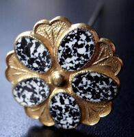 vintage black white enamel flower gilt gold tone top hat pin c. 1950s -N378