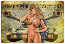 """""""Ready for Action"""" Military Pin-Up Girl Metal Sign - Past Time Signs LETH066"""