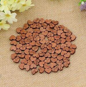 Mini Wooden Wood Heart Table Decoration Wedding Craft Cutout Scatter Scrapbook