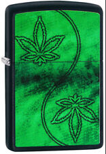Zippo Custom Marijuana Weed Leaf Green Black Matt Lighter NEW L@@K
