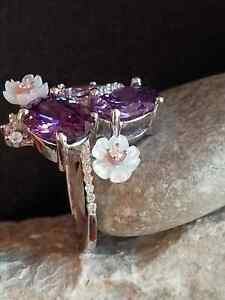AAA QUALITY STERLING 925 SILVER JEWELRY URUGUAY PURPLE AMETHYST FLOWERS RING