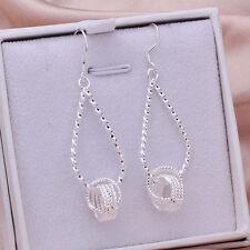 Wholesale 925Sterling Silver Jewelry Solid Mesh Ball Women Earrings Dangle EY281