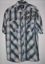 Harley Davidson Motorcycle Snap Up Shirt Large? Blue Plaid Short Sleeve