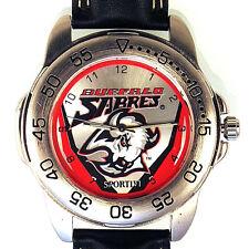 Buffalo Sabres Sportivi New Unworn Rare NHL Mens Vintage 1997 Leather Watch! $89