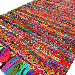 3 X 5 ft Colorful Woven Tassel Chindi Area Rag Rug Braided Indian Bohemian Accen
