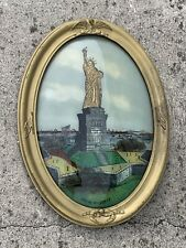 Antique Reverse Painting STATUE of LIBERTY New York USA Wall Art 23/16 ❤️sj8m