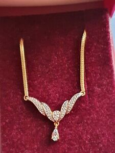 Excellent Yellow Gold Herringbone Diamond Necklace full Hallmarked and tagged