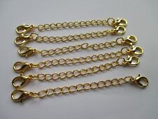 UK 6 x Double Clasp Gold Extension Necklace Bracelet  Jewellery Extender Chain