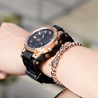 Men's Rose Gold Leopard Beads CZ Panther Braided Macrame Copper Bracelet Jewelry