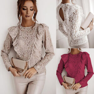 Womens Lace Floral Long Sleeve Tops Ladies Casual Sexy Backless Blouse Shirt Tee