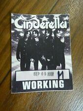 Cinderella Working 2002 Tour Backstage Concert Pass