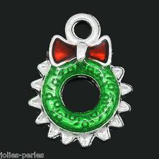 10 PCs Charm Pendants Enamel Christmas Wreath Silver Plated 18mmx13mm