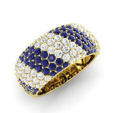 Round 14K White Gold 1.32 Ct Natural Diamond Wedding Sapphire Ring Size- N