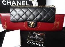 Chanel Brasserie Gabrielle Menu Flap Bag Clutch Lambskin Leather Purse NWT