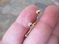 Lot of 2 14K Gold Plated Clear Gem Curved 16 Gauge Bar Eyebrow or Rook Piercings