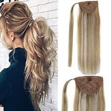 Real Human Hair Ponytail Extensions Drawstring Tie Up Pony Tails 80g Highlighted
