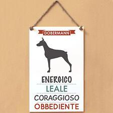 Targa cane piastrella Cartella DOBERMANN energico leale coraggioso obbediente