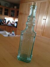Vintage Light Gree Wine Bottle Decanterr - Decorated - Excellent