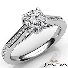 Dazzling Round Diamond Channel Set Engagement Ring GIA I SI1 Platinum 950 1.02Ct