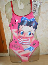 maillot de bain 1 pièce trikini BETTY BOOP rose taille S = 10 ans - neuf