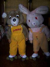 """13"""" Sammy Teddy Bear With Roller Skates and Bunny Vintage 1985 Rare"""