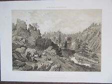BELLE GRAVURE 1867 BRETAGNE MORBIHAN ROCHEFORT EN TERRE  CHÂTEAU VALLEE  ARTZ