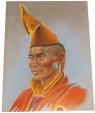1955 Rare DOUGLAS GORAY - Tibetan Monk - ORIGINAL PASTEL PAINTING - Hill People
