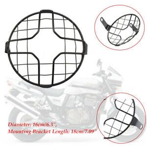 Black Headlight Mesh Grill Retro Guard Motorcycle Front Headlamp Light Cover