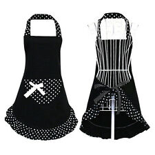 Womens Polka Dot Apron Bowknot Washable Kitchen Cooking Pocket Bib Maid New.
