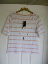 BNWT £14 White with peach stripes gemstone embellishment s/s summer top SIZE 10