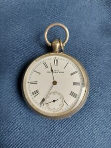 ANTIQUE SOLID SILVER GENTS POCKET WATCH BY A.W. WATCH CO.WALTHAM, WORKING C.1870