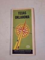 Vintage Texas Oklahoma  highway map map from aaa