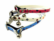 Cat Collar and Bell  Polka dot Pattern Safety Elasticated Adjustable UK Seller
