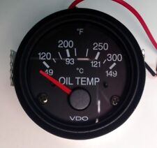 "Oil Temp gauge, VDO type, 120-300F, 2""/52mm, 12V, w/plug wire harness, VDO-OT"