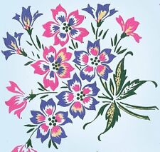 1950s Color Vintage Vogart Textilprint 420 Uncut Floral Hot Iron No Sew Transfer