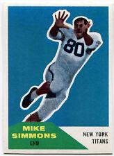 1960 Fleer MIKE SIMMONS #68 RC New York Titans Rare Error JOHN CARSON Wrong Back
