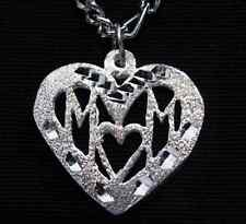 LOOK New Sterling Silver .925 Mom Pendant Charm I LOVE YOU MOTHER HEART Mothers