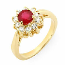 Estate ring .88 ct natural ruby and diamond 14k gold