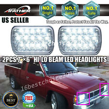 "7""x6"" LED Headlights Crystal Clear Sealed High Low Beam For Nissan Pickup Sentra"