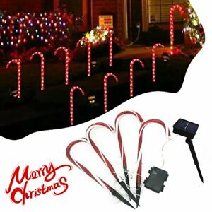 Christmas Candy Cane Pathway Lights LED Outdoor Garden Decorations E&