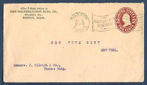 US Stamped Envelope U408 Washington 2¢ Brown Red Boston MA to NYC 1907