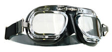 HALCYON MK10 DELUXE CURVED LENS CHROME BLACK MOTORCYCLE GOGGLES RETRO VINTAGE
