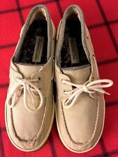MOUNTAIN CREEK MENS Sz 10 BEIGE UPPER CANVAS RUBBER SOLE COMFORT SHOE