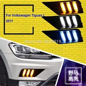 For Volkswagen Tiguan 2017 Fog Lights Fog Lamps LED Driving Light DRL Day Light